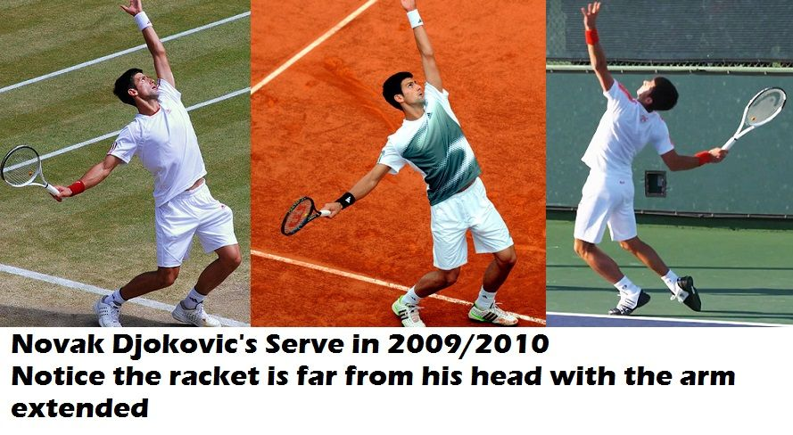 Novak Djokovic's trophy position on serve before he made the changes