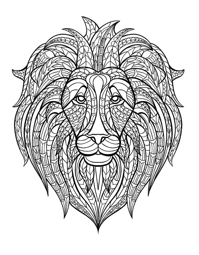 Free Coloring Page Adult Africa Lion Head With A Huge Mane