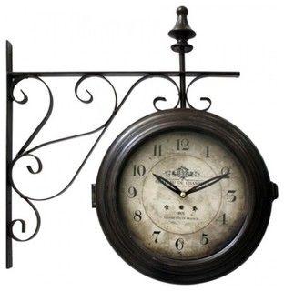 antique train station wall clock