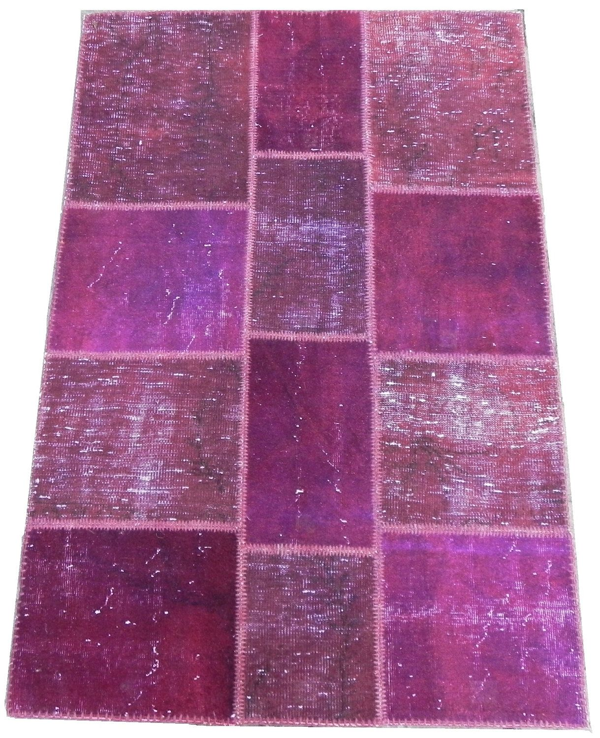 Patchwork Rug handmade from Over-dyed Distressed Vintage Turkish Carpets : Purple, Plum, Violet Colors, 4x6 ft. $395.00, via Etsy.