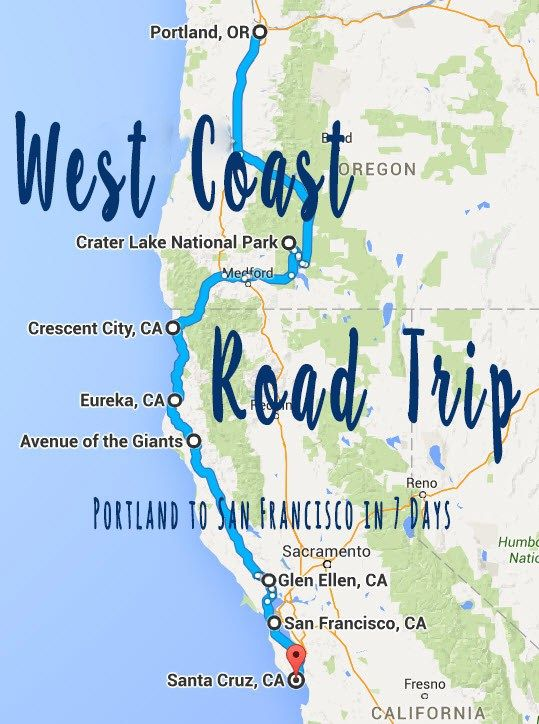 West Coast Road Trip Portland To San Francisco Road Trip Karte