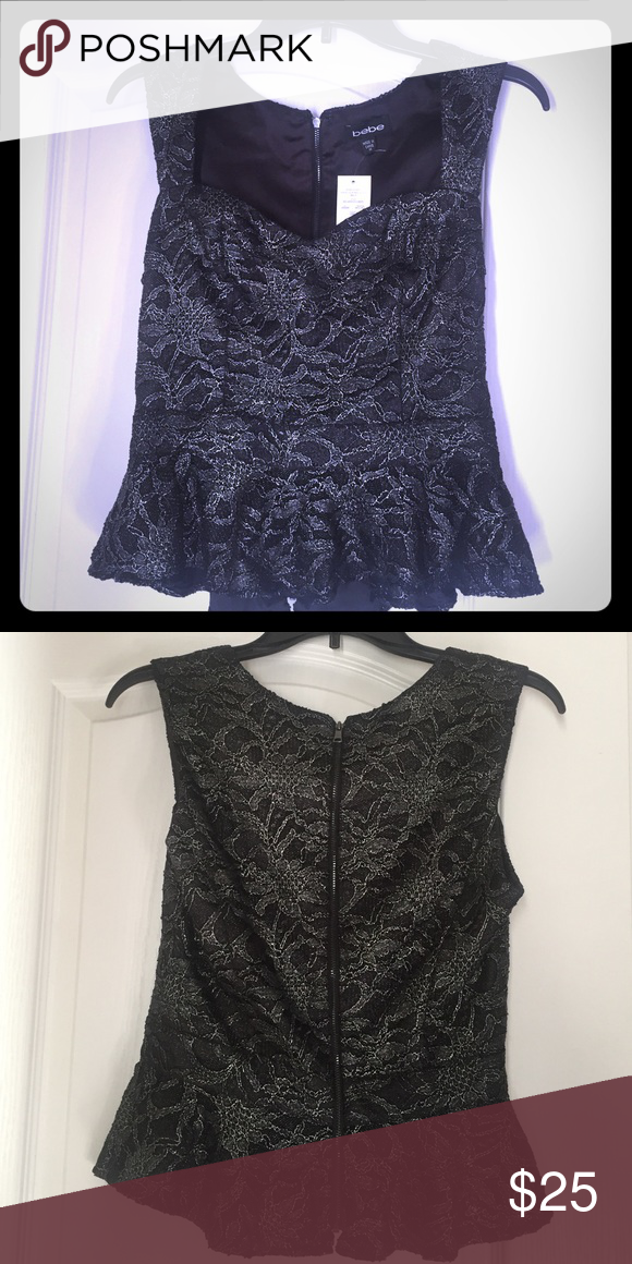 Bebe peplum top NWT! Never worn..Bebe peplum top.. black and silver perfect for New Years!! bebe Tops Blouses