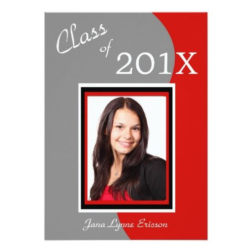 Red Gray Wave Photo Graduation Party Invitation by Westerngirl2