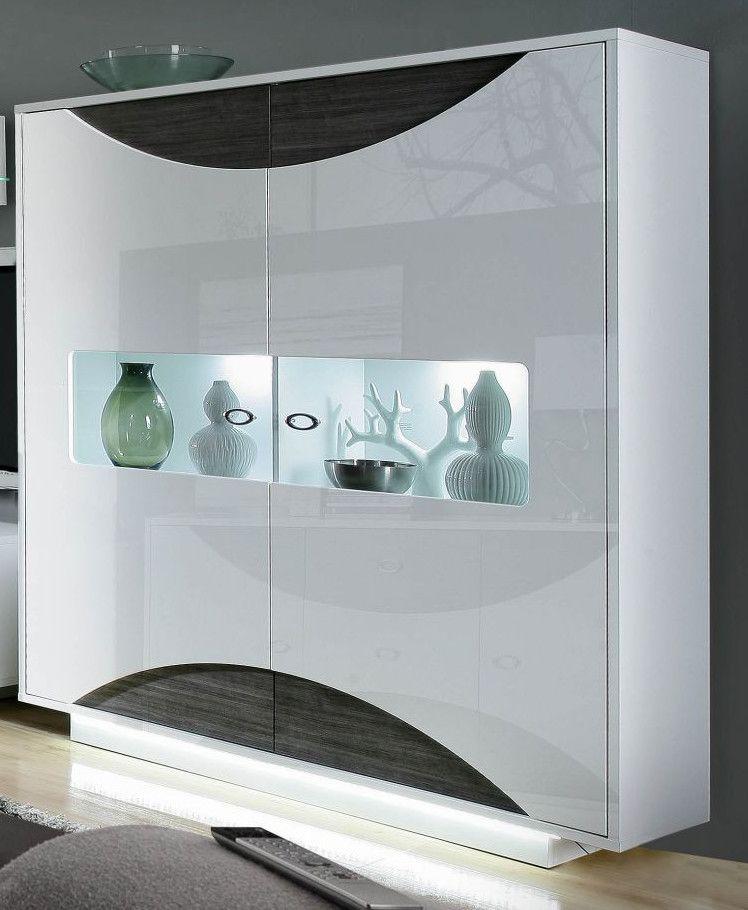 Highboard Weiss Hochglanz\/ Eiche Grau Mit Beleuchtung Woody 77 - wohnzimmer grau weis modern