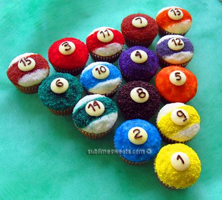 Cupcake Decorating Ideas For Boyfriend : Pool balls....would be great for someone that likes to ...