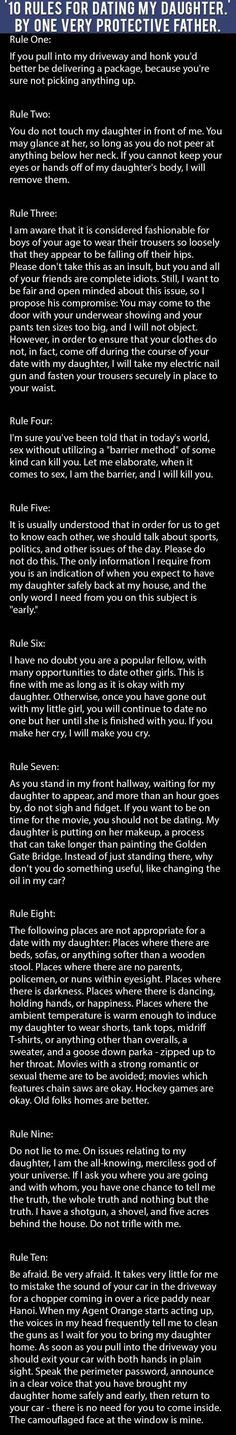 10 Rules For Dating My Daughter By One Very Protective Dad Funny Mom Quotes Funny Girl Quotes Family Quotes Funny