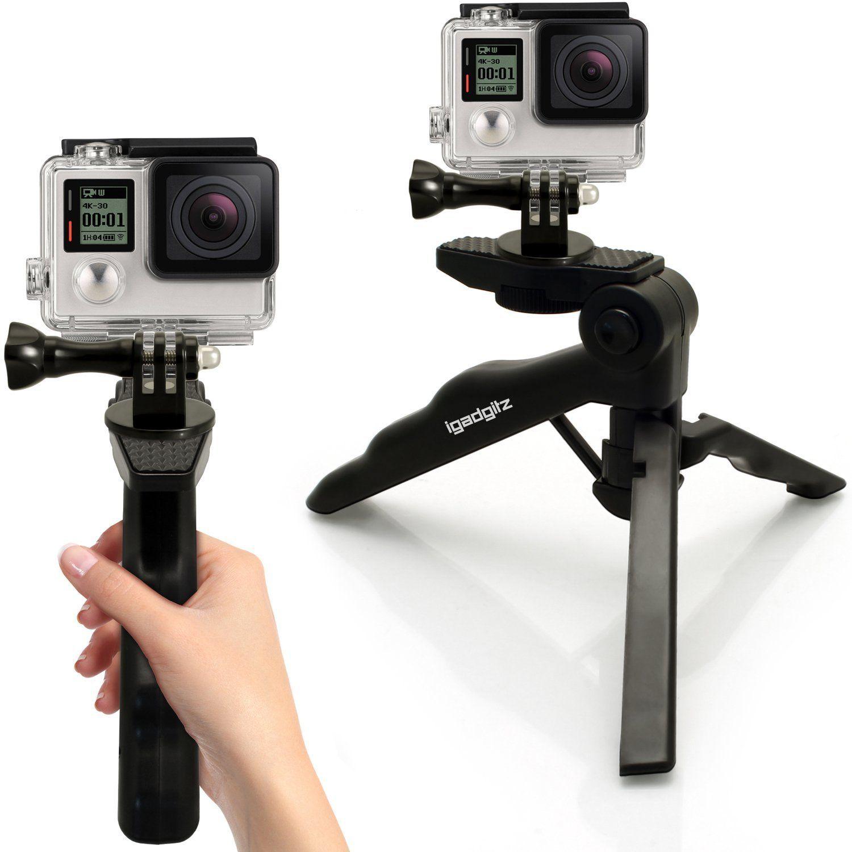 Igadgitz 2 In 1 Pistol Grip Stabilizer And Mini Amazon De Camera Photo Tripod Pistol Gopro