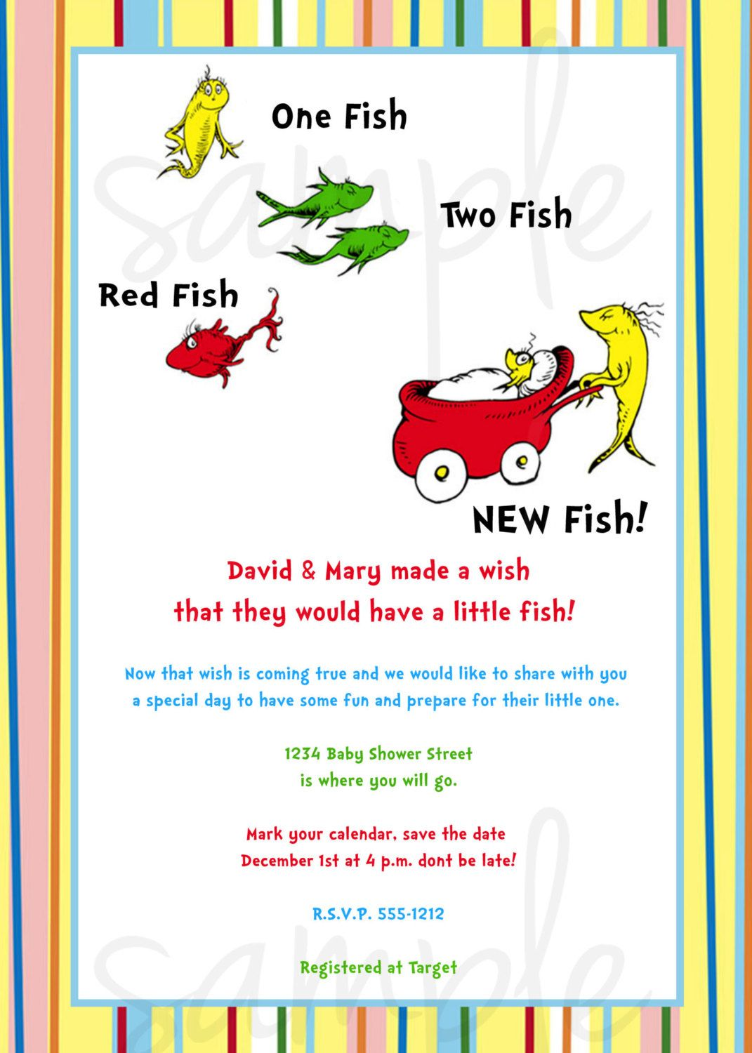 Dr Seuss One Fish Two Fish Baby Shower Invitation. | Showers in the ...