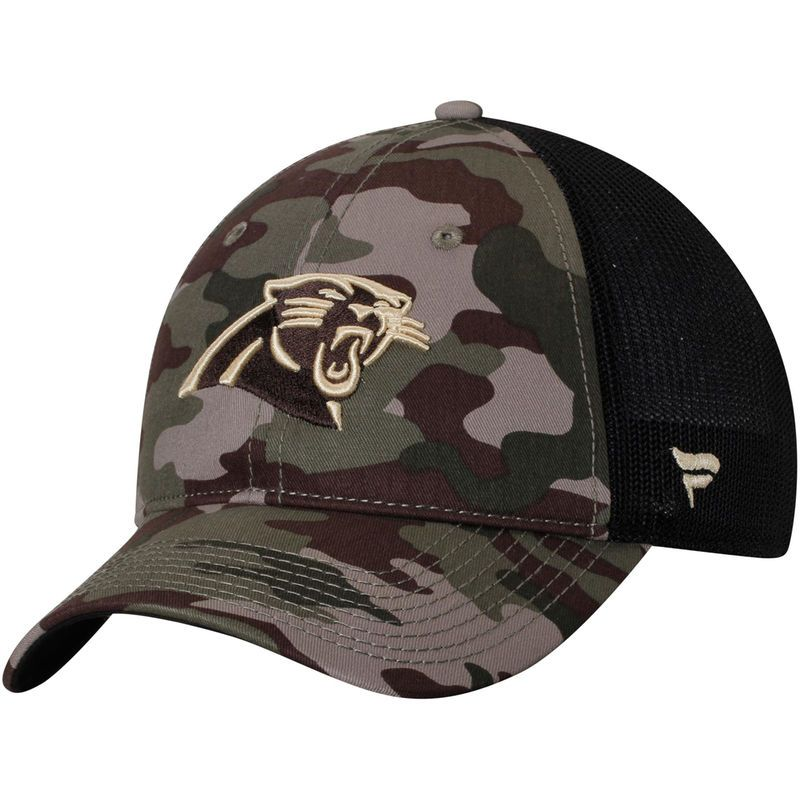 huge discount acd46 bba17 Carolina Panthers NFL Pro Line by Fanatics Branded Jungle Trucker Hat -  Camo Black