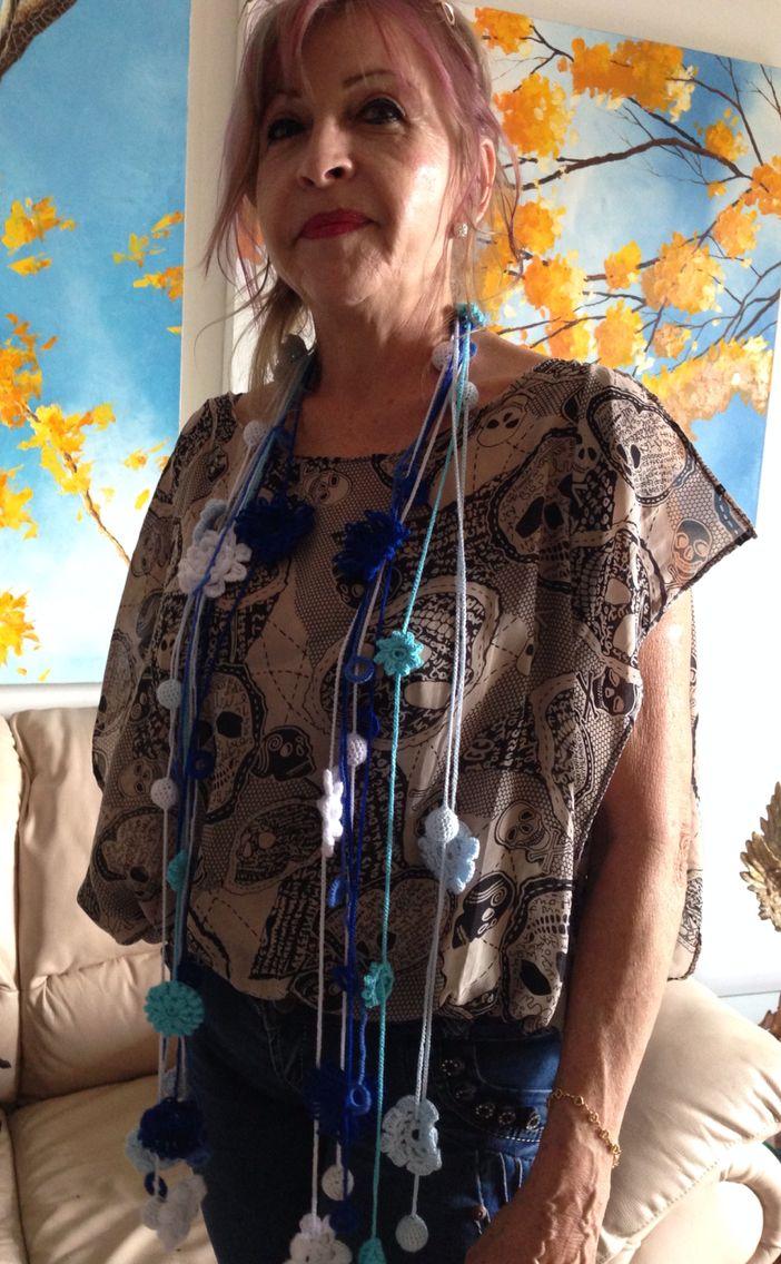 Collares tejidos en técnica de crochet. Contacto anayjaime.65@hotmail.com