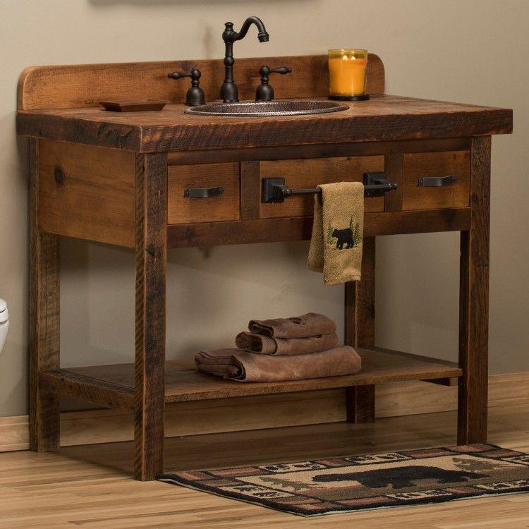 small sink vanity for small bathrooms%0A Reclaimed Barnwood Open Vanity  Rustic Master BathroomMaster