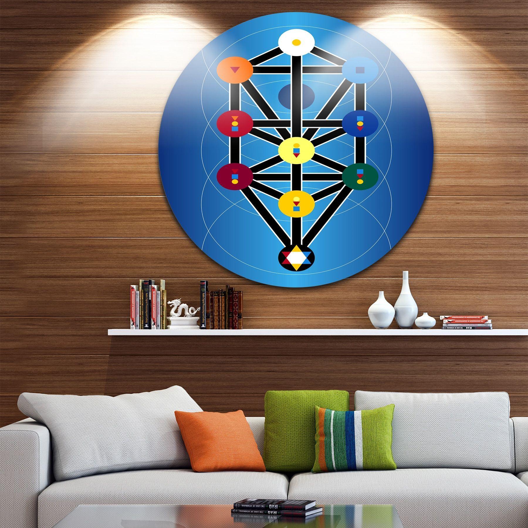 Designart ucabala jewish symbolsu modern digital art circle wall art