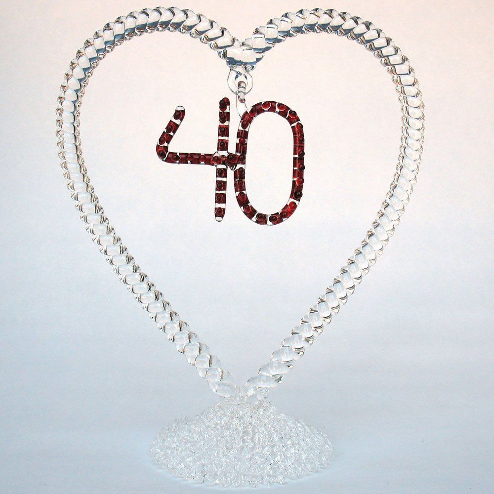 40th Anniversary Ruby Wedding Cake Topper of Hand Blown Glass. 40th ...