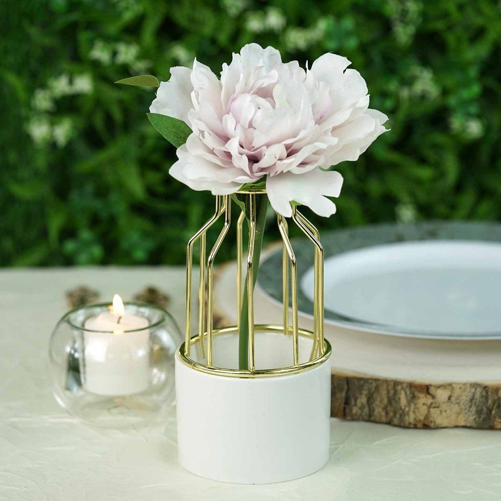 6 Gold Wrought Iron White Ceramic Vase Small Flower Pot White Ceramic Vases Wedding Flower Vase Small Flower Pots