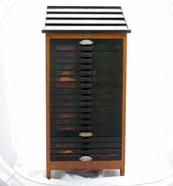 Antique Letterpress Cabinet - 20 Drawer Printers Type Cabinet w. Wooden  Letterpress Letters Built in 1890 - Antique Letterpress Cabinet - 20 Drawer Printers Type Cabinet W