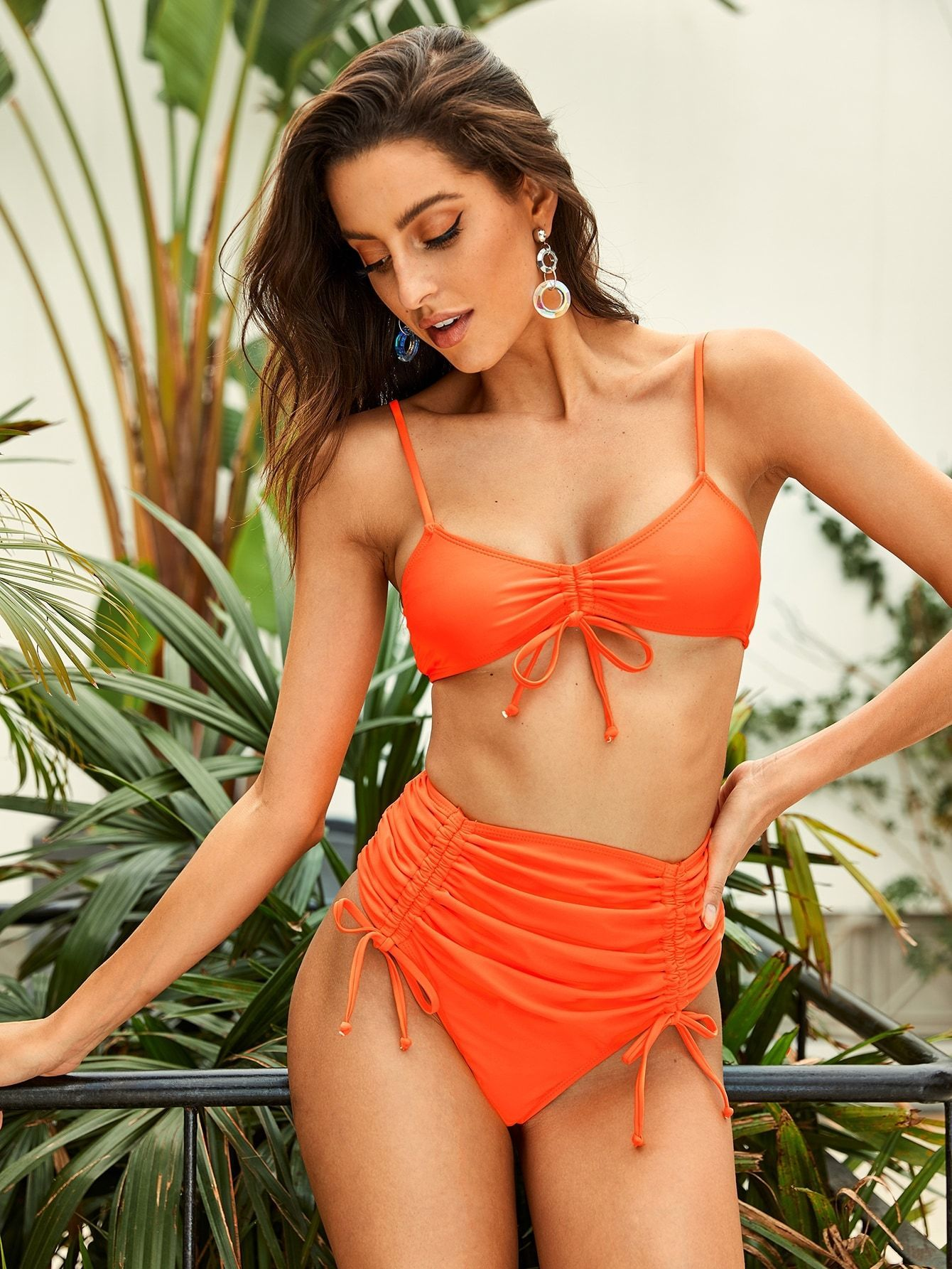 Neon Orange Drawstring High Waist Bikini Set #setinstains