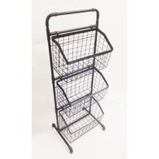 3 Tier Floor Stand Display Basket Metal Baskets Tiered Basket Stand Wire Basket Storage