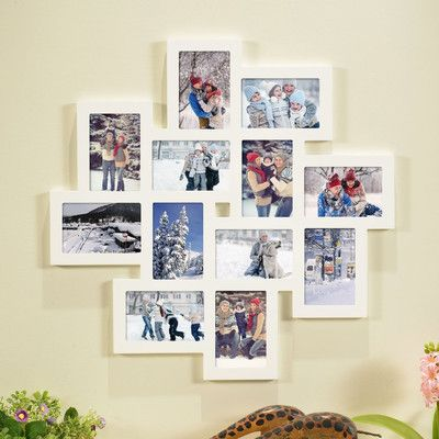 Homebeez 12 Slot Wood Collage Picture Frame Color