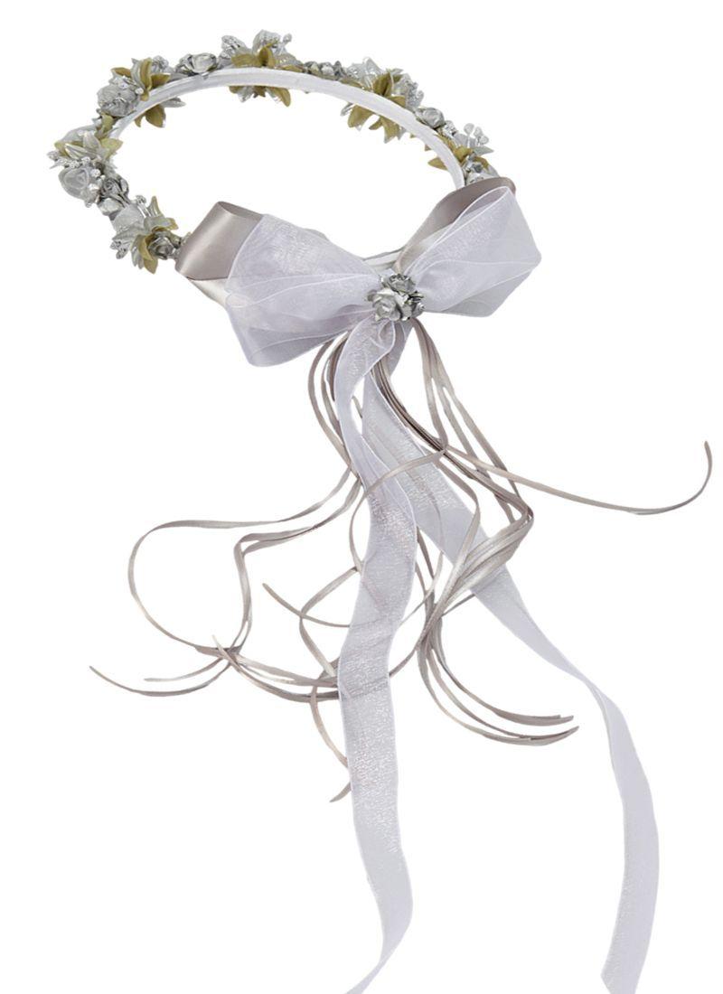Silver floral crown wreath handmade with silk flowers satin ribbons silver floral crown wreath handmade with silk flowers satin ribbons bows girls izmirmasajfo