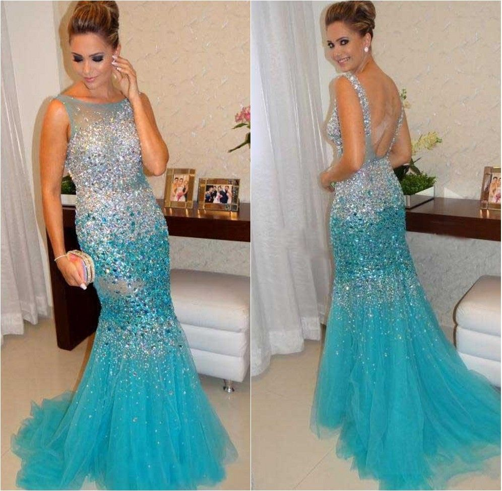 2015 Crystal Sexy Mermaid Prom Dresses Tulle Long Women Party ...