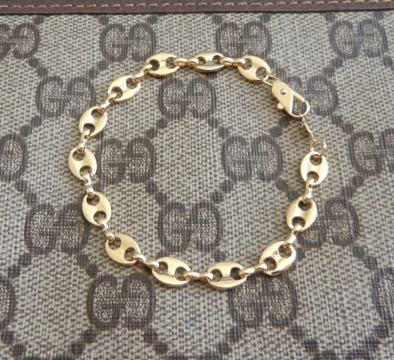 9c0f6b7b47ad1 Vintage gold plated Gucci style link bracelet - signed DM   My Style ...