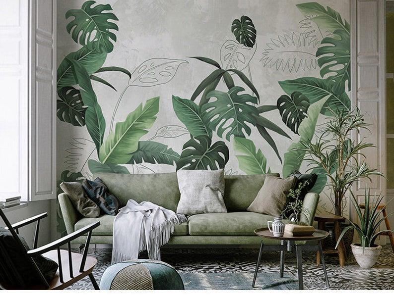 Southeast Asian Rainforest Plant Wall Murals Wall Decor, Green Leaves Shrub Wallpaper Wall Mural, Tr