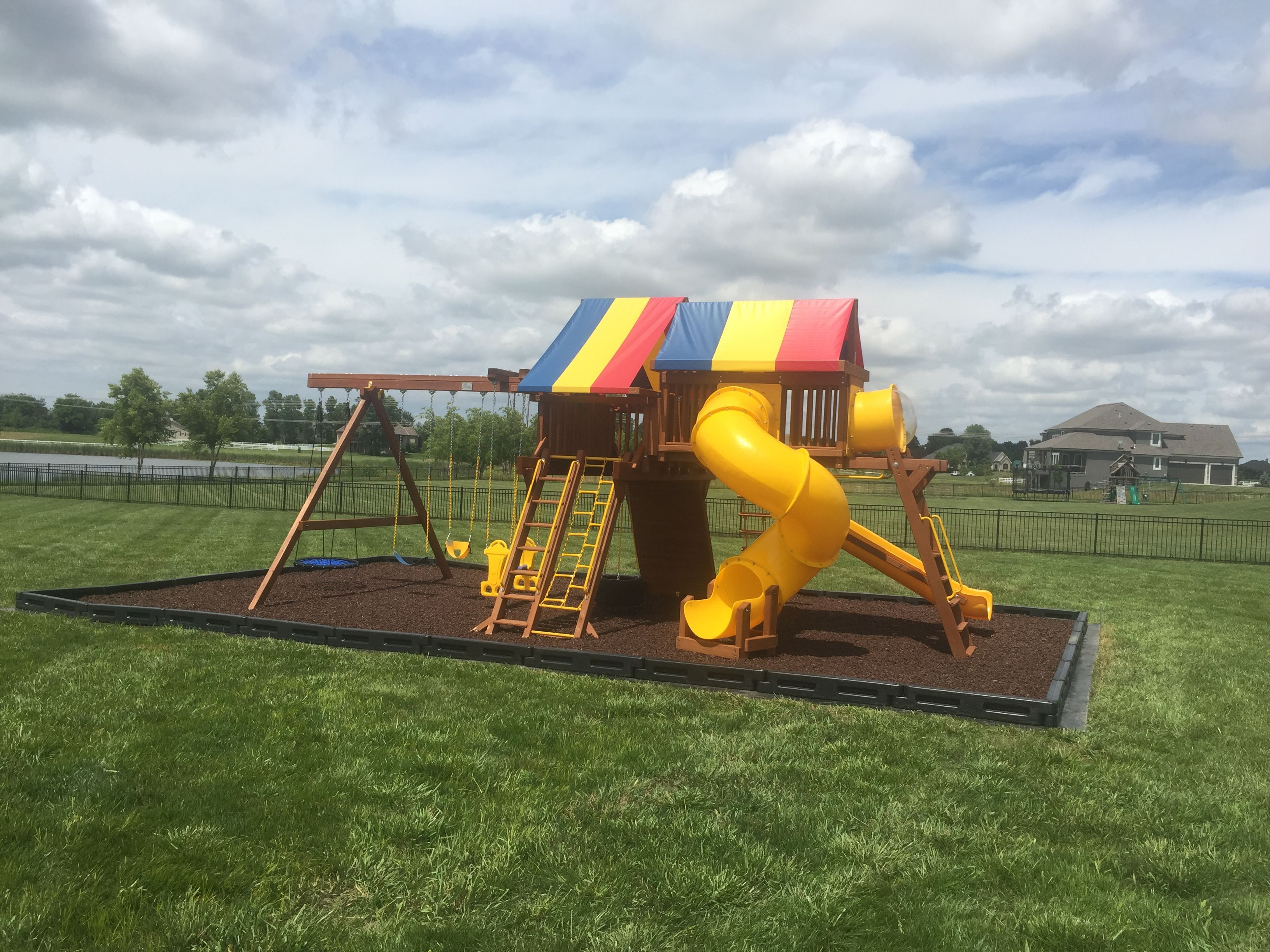 We recently installed this backyard playground with ...