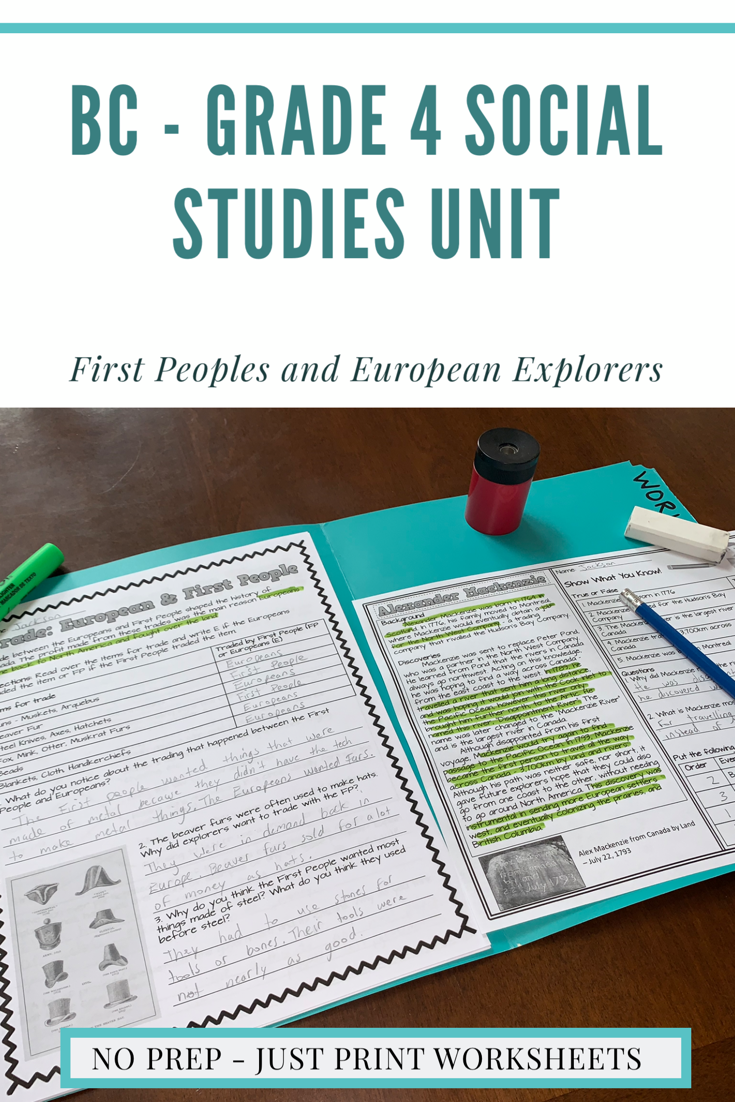 First Peoples And European Contact - BC Grade 4 Reading \u0026 Activity Sheets  Bundle   Social studies [ 1102 x 735 Pixel ]