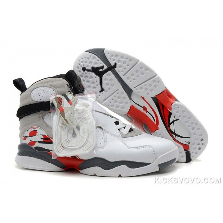 Air Jordan 8 Original High White Black Grey Red - Air Jordans Shoe  HistoryAll basketball shoes were white before the introduction of the Air  Jordan.