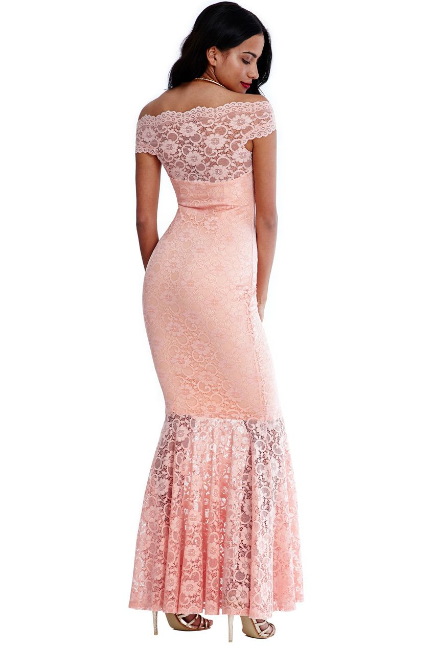 62bb3a480d1 Goddiva-Womens-Bardot-Neck-Lace-Maxi-Dress -Nude-Ladies-Evening-amp-Wedding-Wear