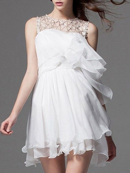 Alluring Chiffon Crew Neck Beading Falbala  Skater-dresses Skater Dresses from fashionmia.com