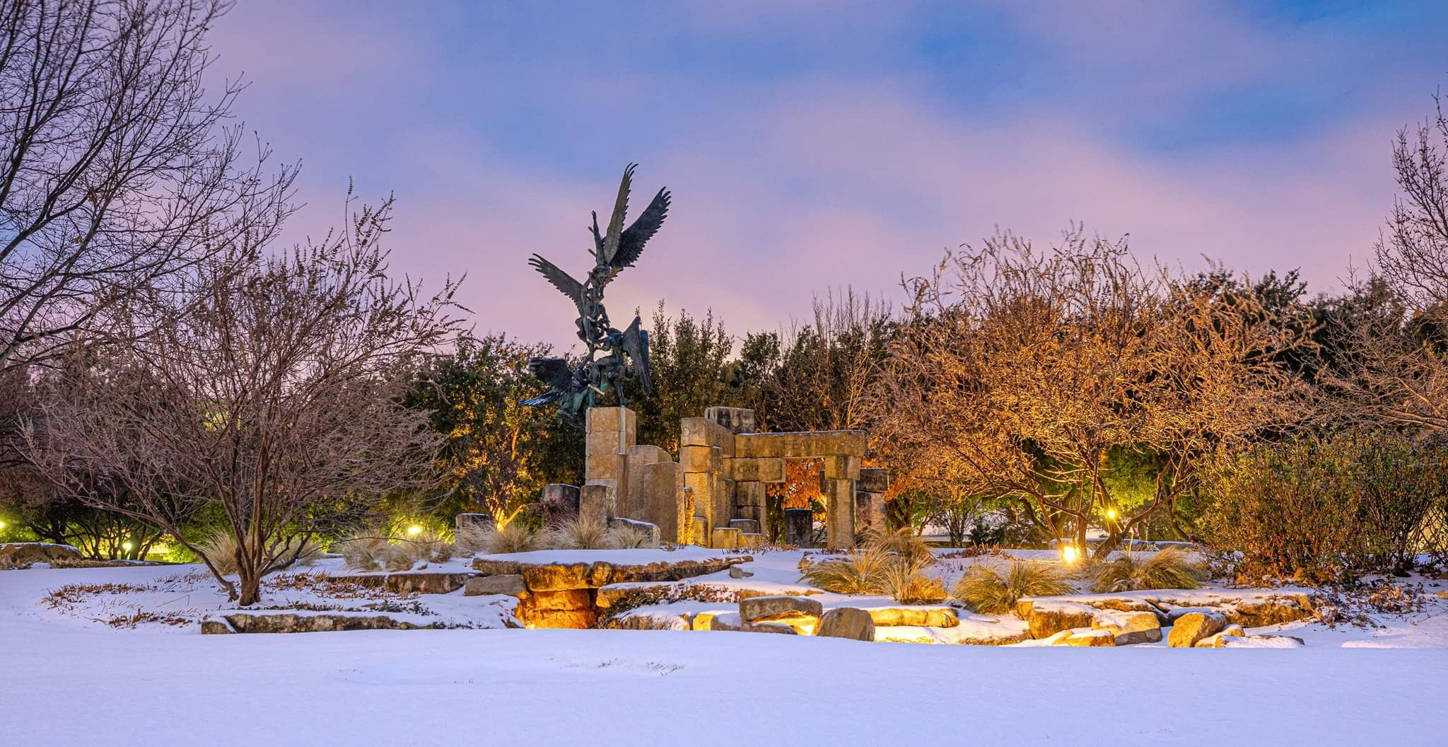 The Jacob S Dream Sculpture At My Alma Mater This Morning Abilene Tx Credit Acu In 2020 Snow Covered Trees Landscape Abilene