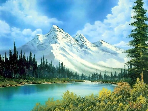 Snow Capped Mountains Scene Easy Landscape Paintings Landscape