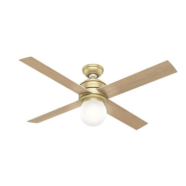 Hunter fan hepburn 52 modern brass w4 white grainaged oak hunter fan hepburn brass ceiling fan with 4 white grainaged oak reversible blades aloadofball Images