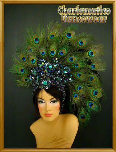 Peacock Green Fancy Drag Carnival Feather Headdress | eBay
