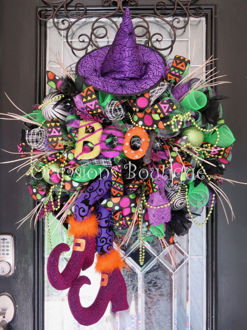 Wicked Witch Halloween Wreath, Halloween Wreath, Deco Mesh Wreath - fall and halloween decorations