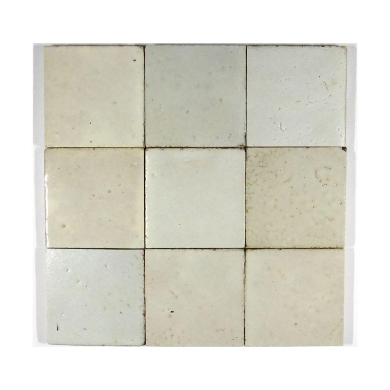 Zellige White 10cm X 10cm Clay Tiles Tiles Handmade Natural