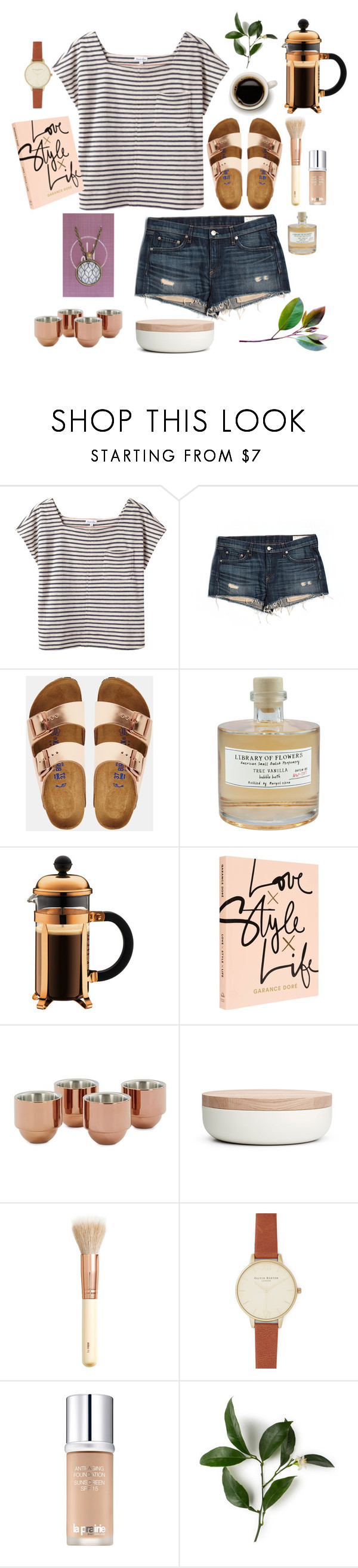 """""""Copper and Stripes"""" by oh-buttons on Polyvore featuring Steven Alan, rag & bone/JEAN, Birkenstock, Library of Flowers, Tom Dixon, When Objects Work, H&M, Olivia Burton and La Prairie"""