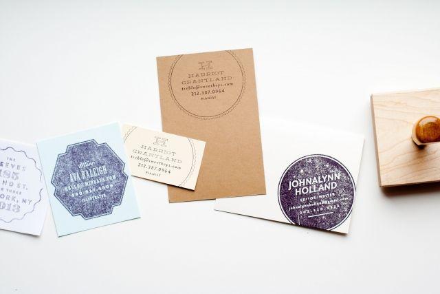 Stamp Cards Stamped Business Cards Diy Business Cards Interior Designer Business Card