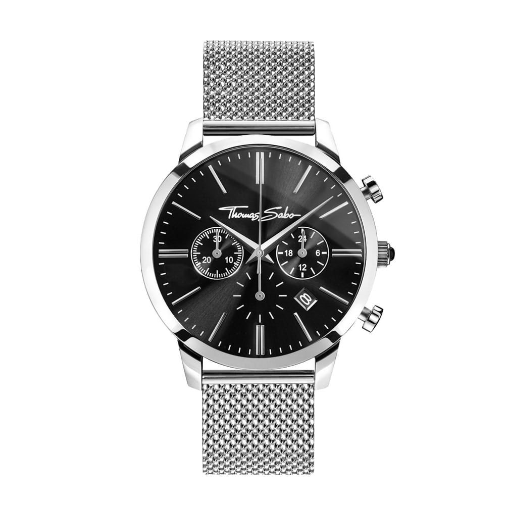 Thomas Sabo Mens Eternal Rebel Black Onyx Stainless Steel Chronograph Watch
