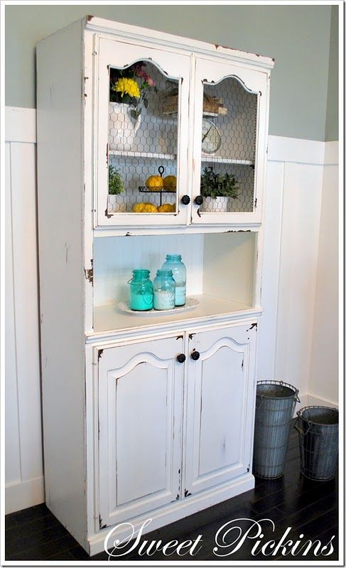 I have a wood hutch... wonder if I should paint it white, this is ...