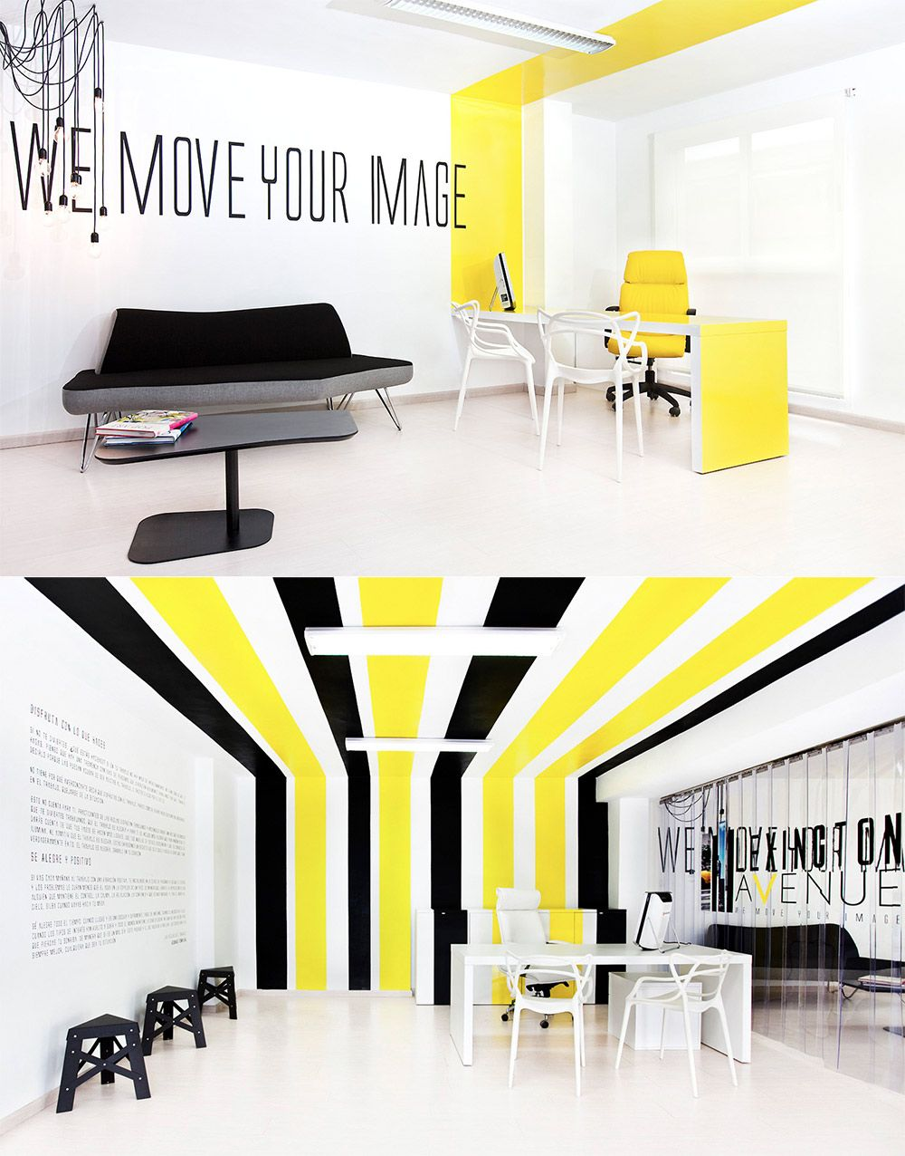 offices yellow black and office spaces on pinterest black and white office design