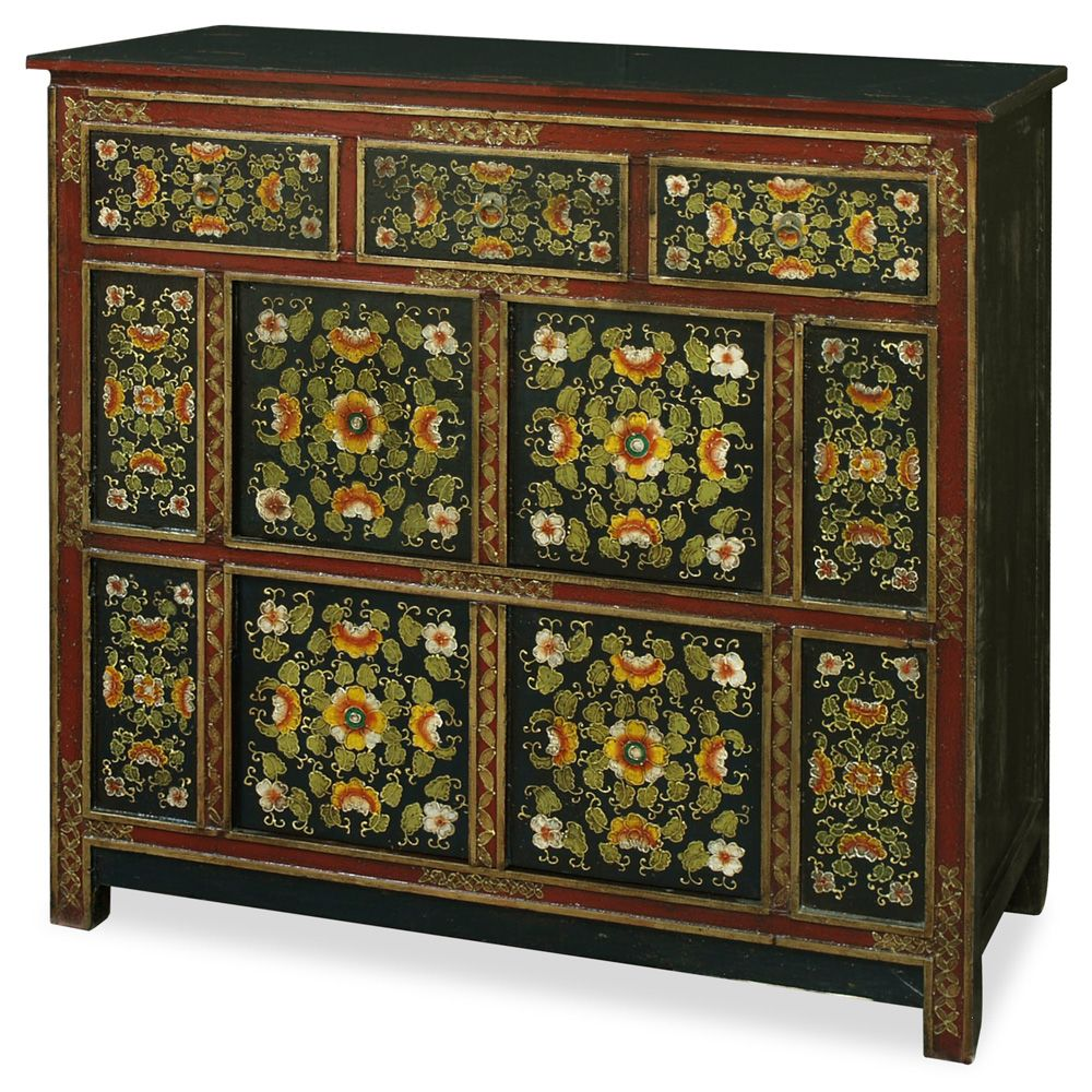 Muebles Tibetanos Hand Painted Tibetan Chest Greens