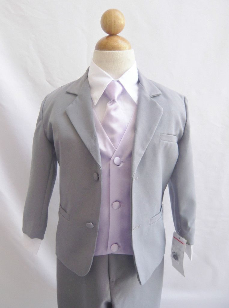 Wallao.com - Boy Suit Gray with Lilac Vest for Ring Bearer Long Tie ...