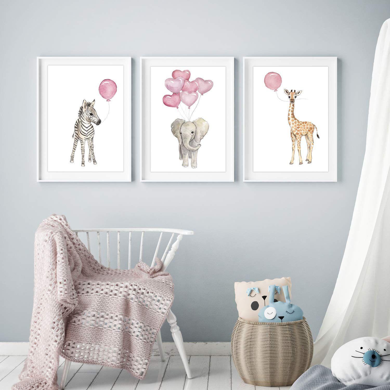 Raumidee des Tages Hübsche Kinderzimmer Bilderdeko mit Tieren