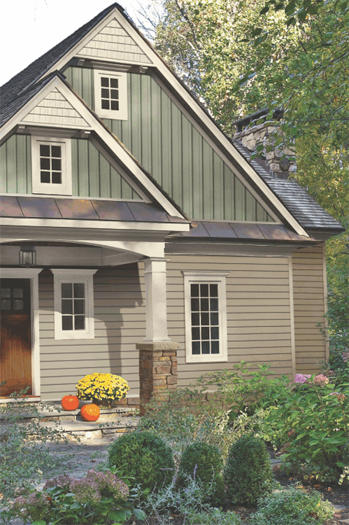 Mixed siding styles project farm living pinterest for Siding styles and colors