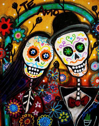 PRINT Art Mexican FOLK ART Day Of The Dead Wedding SKULL Flowers PRISTINE