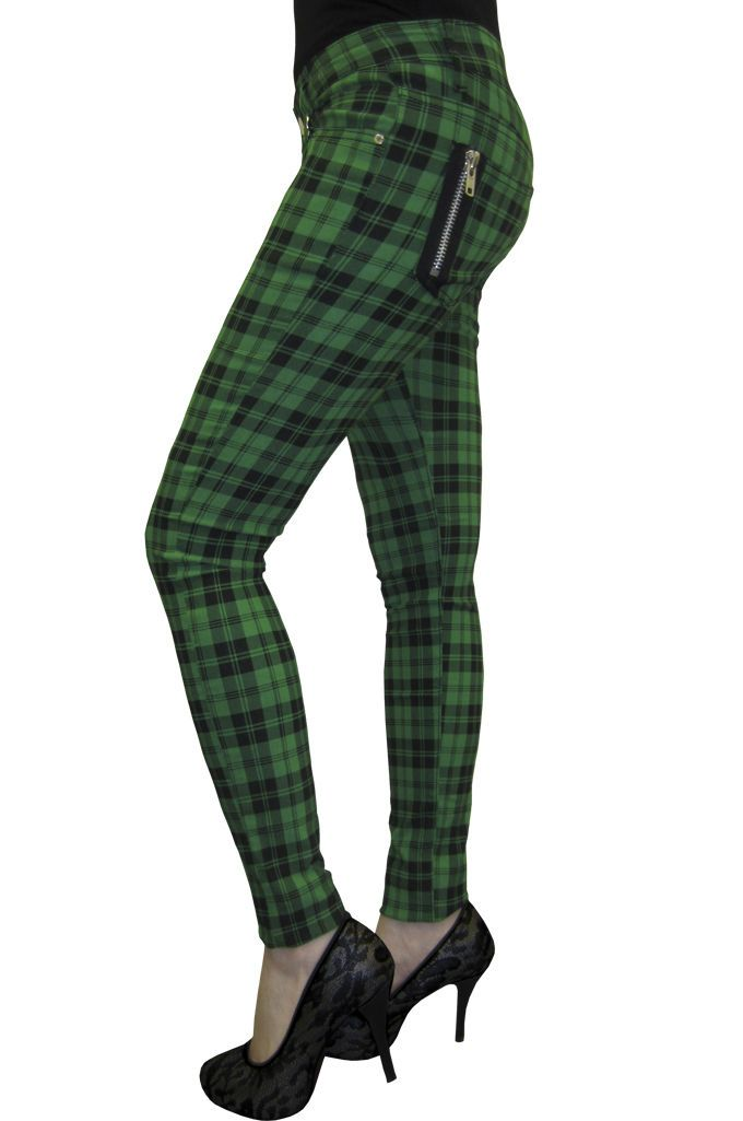Red Tartan Check Punk Goth Rockabilly Stretch PLUS SIZE Trousers Banned Apparel