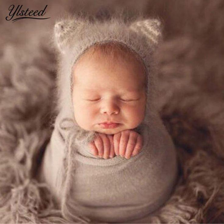Baby Infant Photography Props Cap Ear Bear Bonnet Mohair Newborn Baby Hat