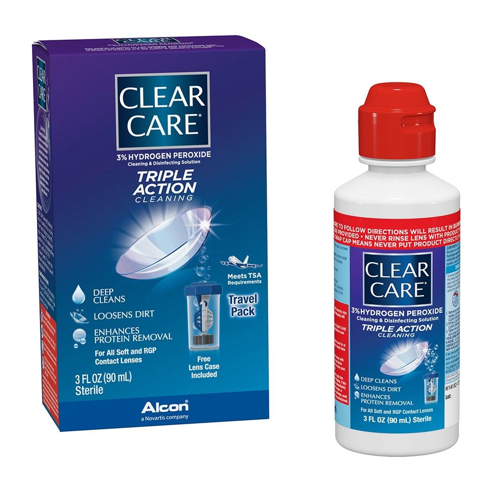 Clear Care Triple Action Cleaning Contact Travel Pack In 2020 Contact Lens Solution Travel Packing Care